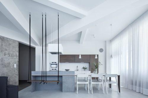 Полимерный наливной пол в интерьере кухни
