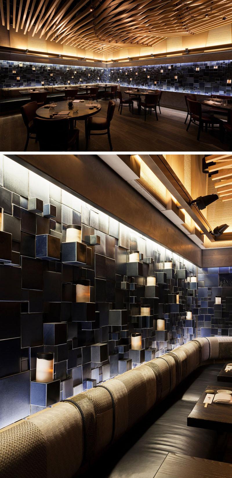 Интерьер современного ресторана с керамической арт стеной