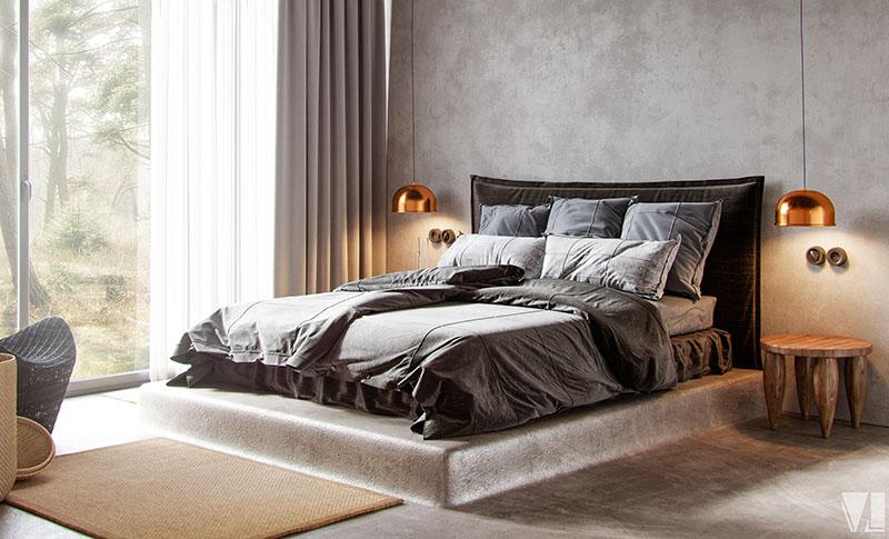Каркас кровати интегрированный в бетонный пол