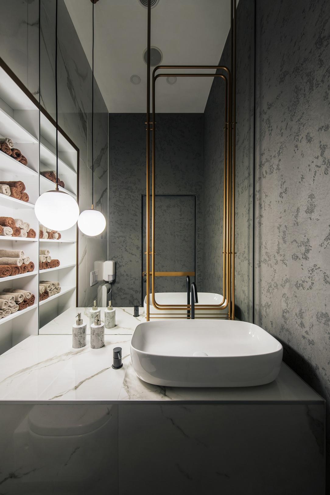 Современный дизайн интерьера бар-салона красоты madison 13