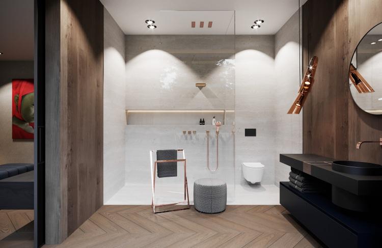 Современный интерьер гостевой ванной комнаты просторного дома в лесу