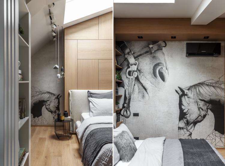 Современный дизайн интерьера спальни двухуровневых апартаментов