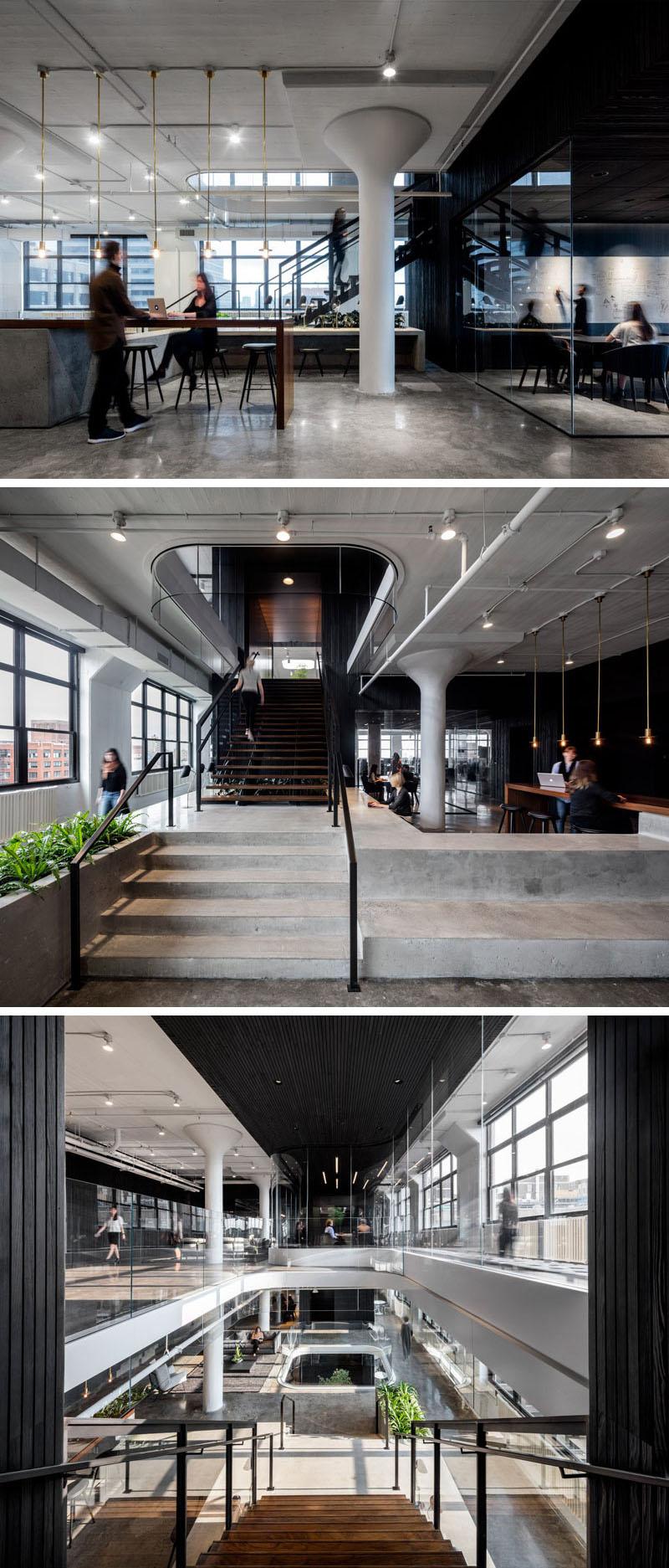 Современный дизайн интерьера рабочей зоны офиса Squarespace