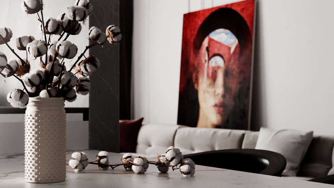 Современный дизайн интерьера гостиной светлых апартаментов 5