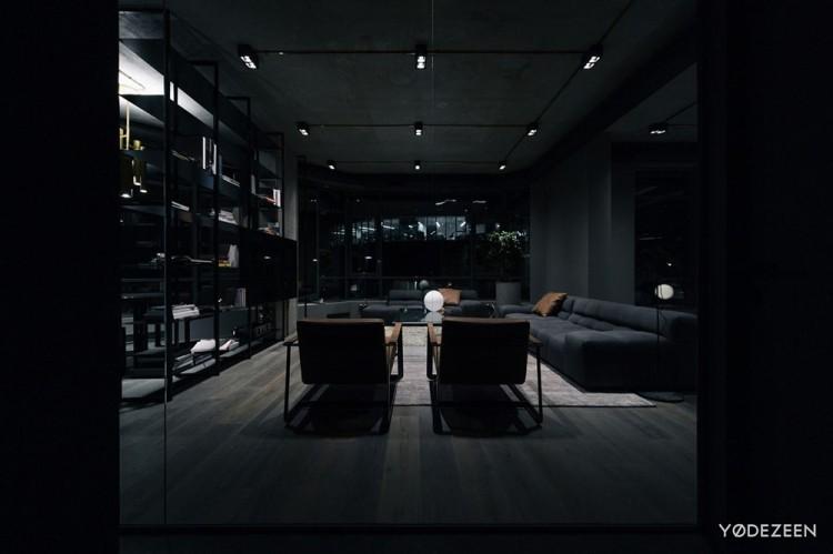 Современный дизайн интерьера гостиной квартиры в промышленном стиле 14