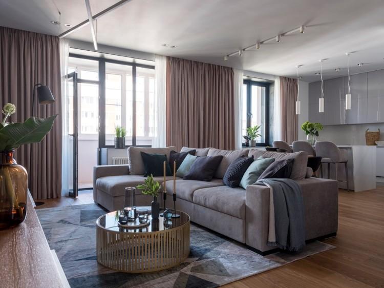 Современный дизайн интерьера гостиной апартаментов