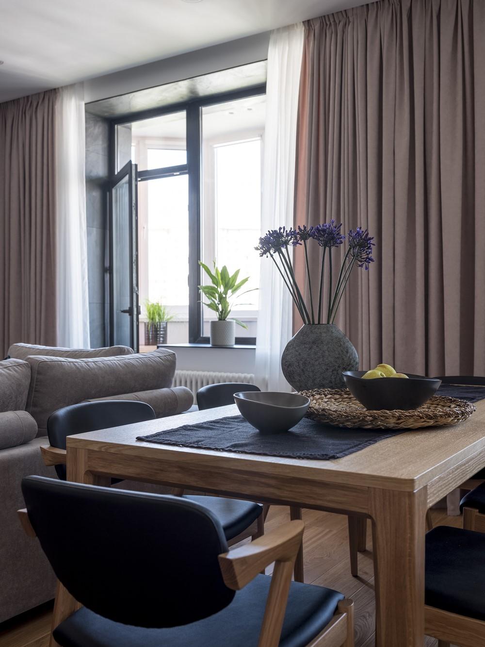 Современный дизайн интерьера кухни-столовой апартаментов