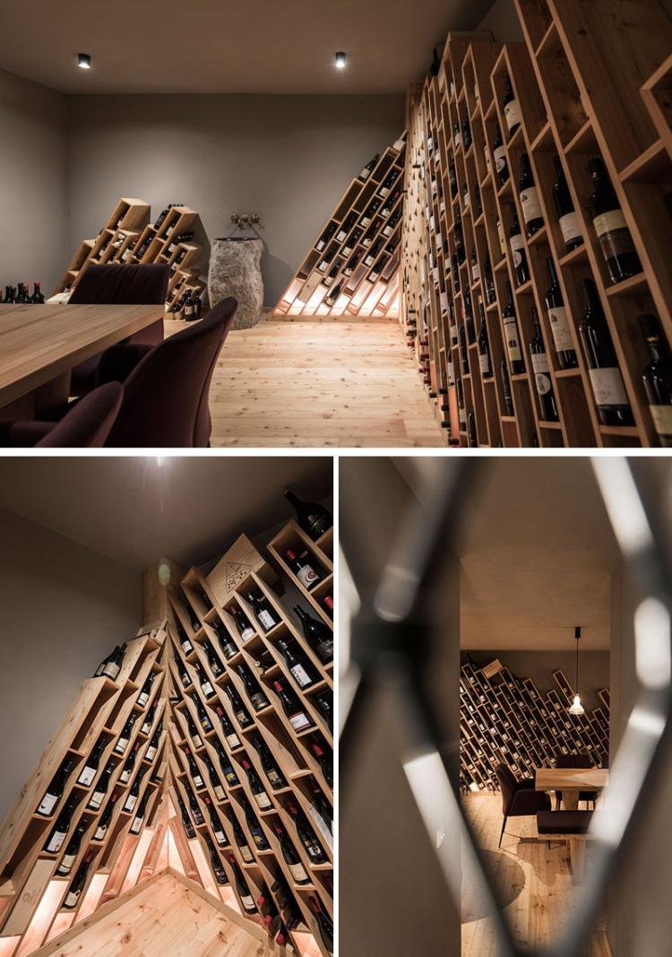 Современный дизайн интерьера винного погреба отеля в Италии