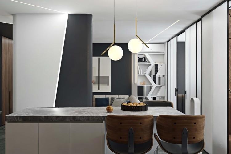 Современный дизайн интерьера столовой апартаментов в Новом Тушино