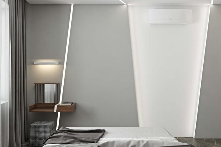 Современный дизайн интерьера спальни апартаментов в Новом Тушино