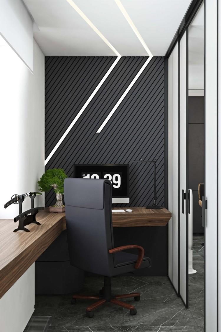Современный дизайн интерьера кабинета апартаментов в Новом Тушино