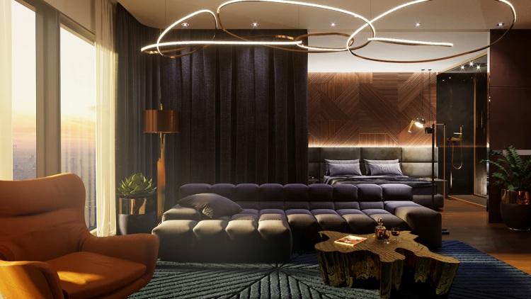 Современный дизайн интерьера апартаментов в Москва-Сити