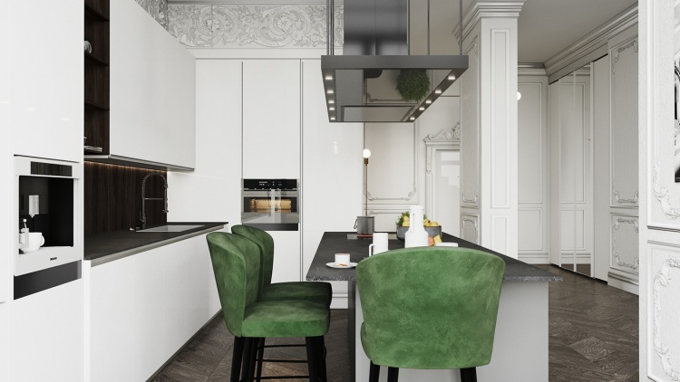 Дизайн интерьера кухни квартиры в современном стиле 2