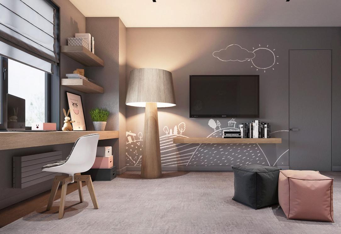 Современный дизайн интерьера второй детской спальни квартиры 2