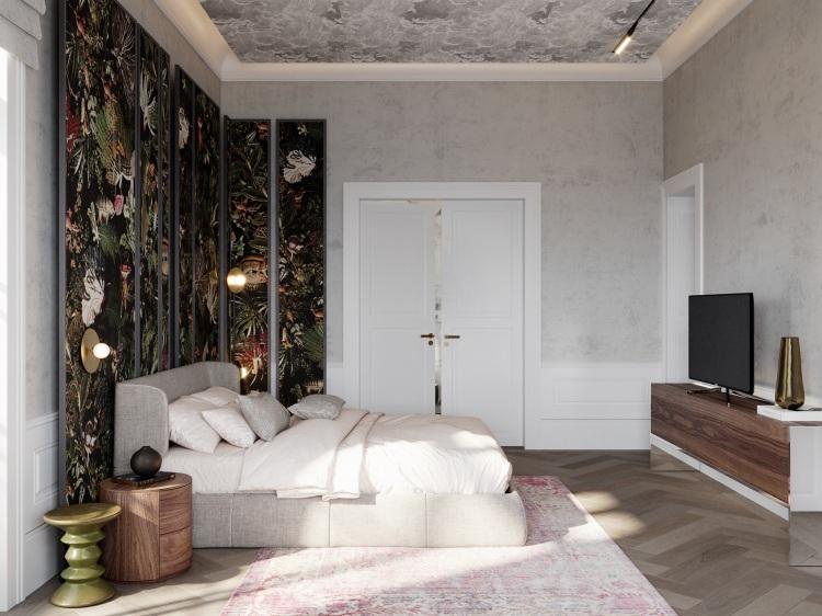 Современный дизайн интерьера спальни восстановленной виллы у моря