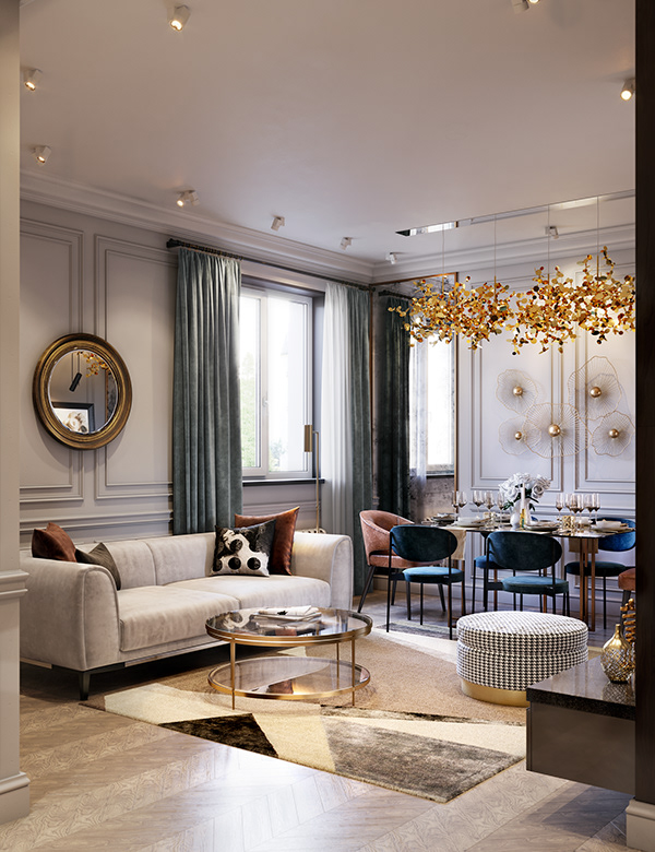 Современный дизайн интерьера гостиной темных апартаментов