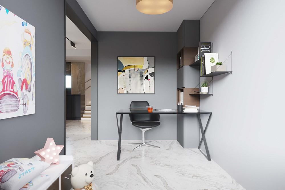 Современный дизайн интерьера детской спальни дома в Швейцарии