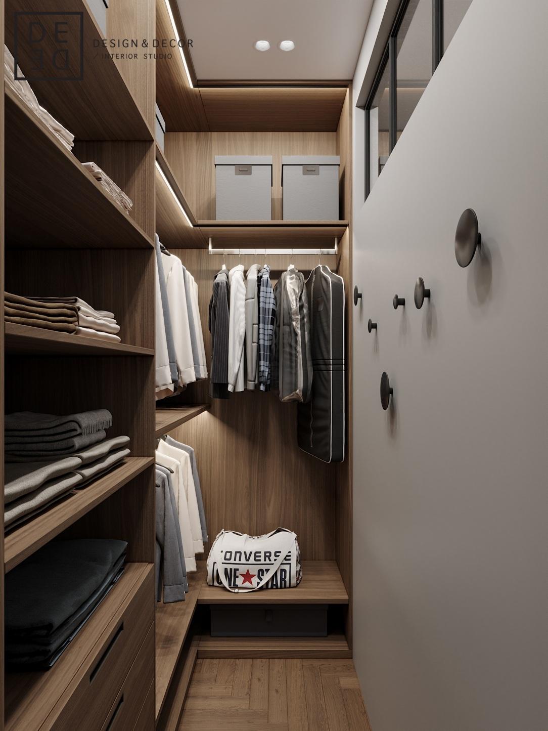 Современный дизайн интерьера гардеробной квартиры в стиле фьюжн