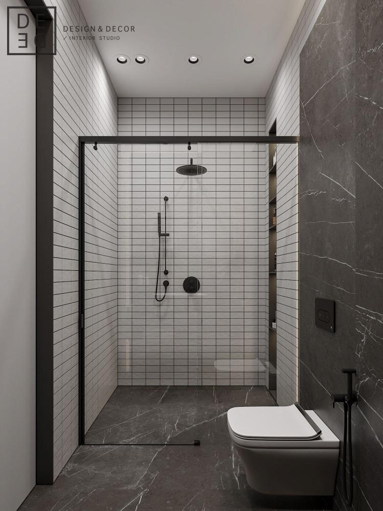Современный дизайн интерьера детской ванной комнаты квартиры в стиле фьюжн 3