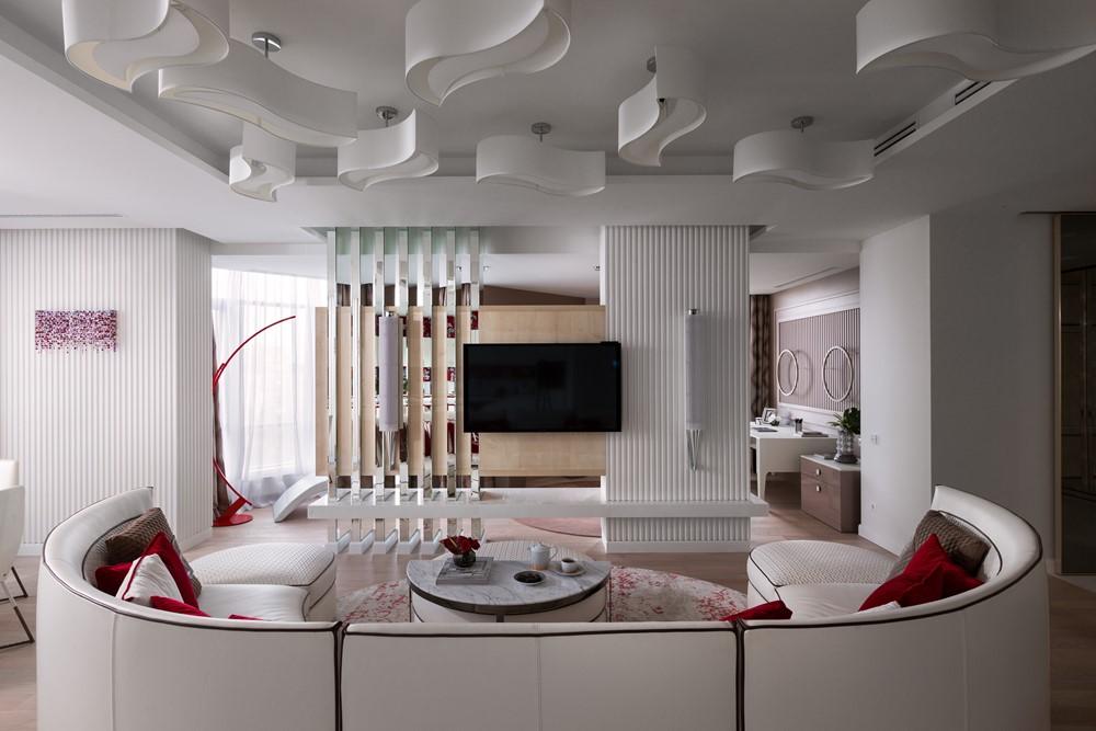 Современный дизайн интерьера гостиной резиденции в классическом стиле