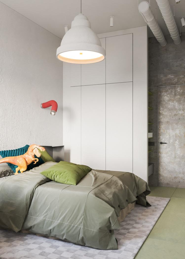 Современный дизайн интерьера второй детской спальни апартаментов в промышленном стиле 2