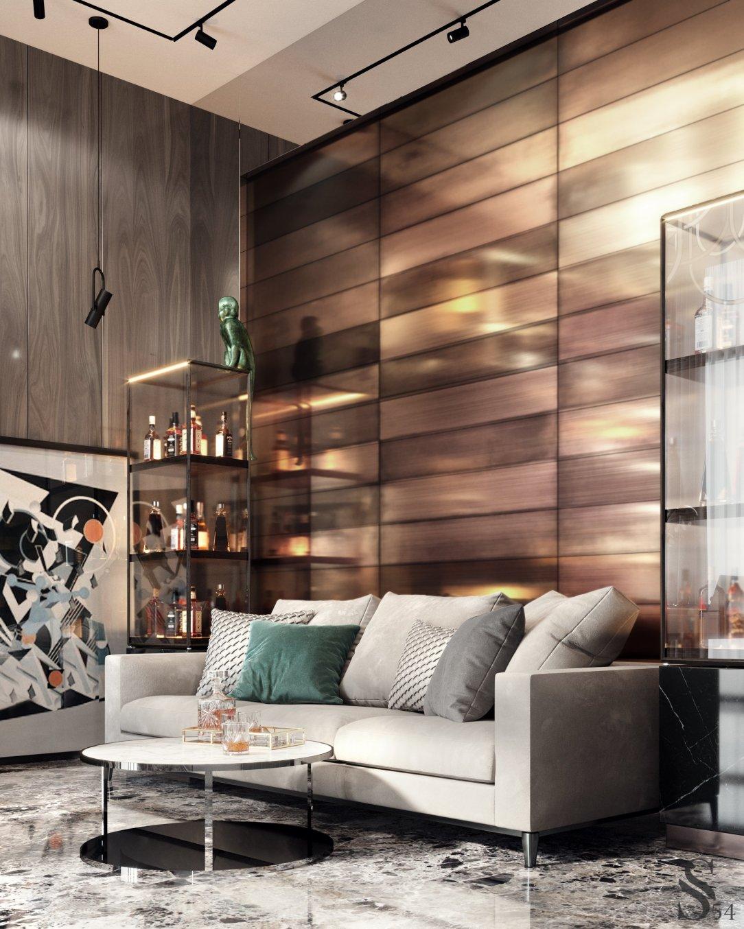 Современный дизайн интерьера кабинета резиденции в Подмосковье 2
