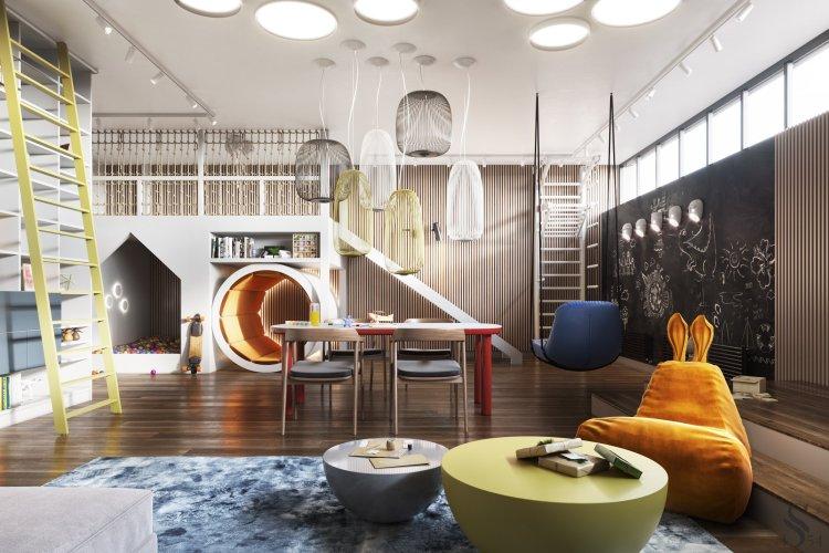 Современный дизайн интерьера игровой комнаты резиденции в Подмосковье