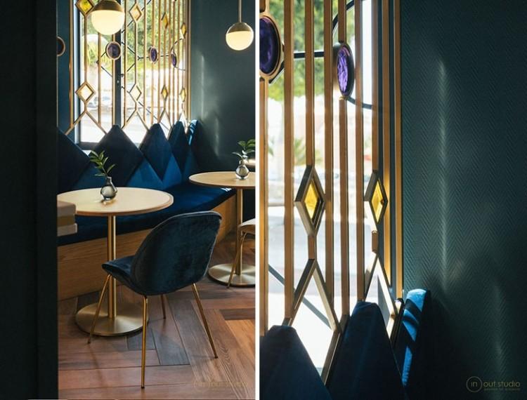 Современный дизайн интерьера ресторана с дизайнерскими перегородками 5