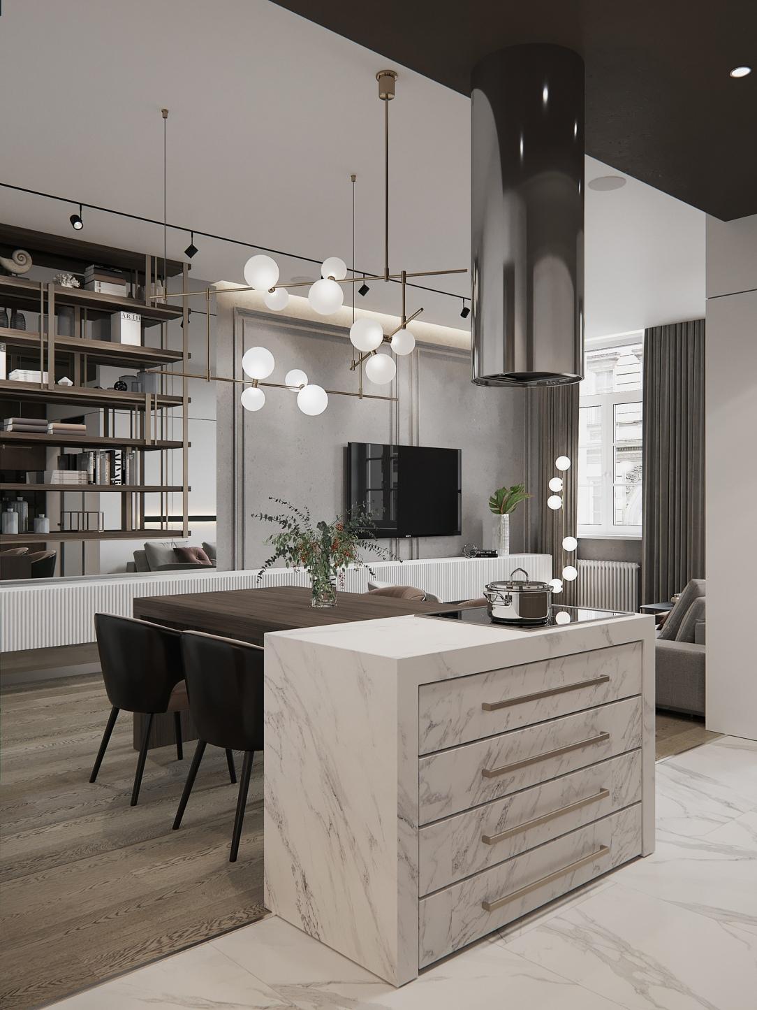 Дизайн интерьера кухни-столовой квартиры в современном стиле в Санкт-Петербурге