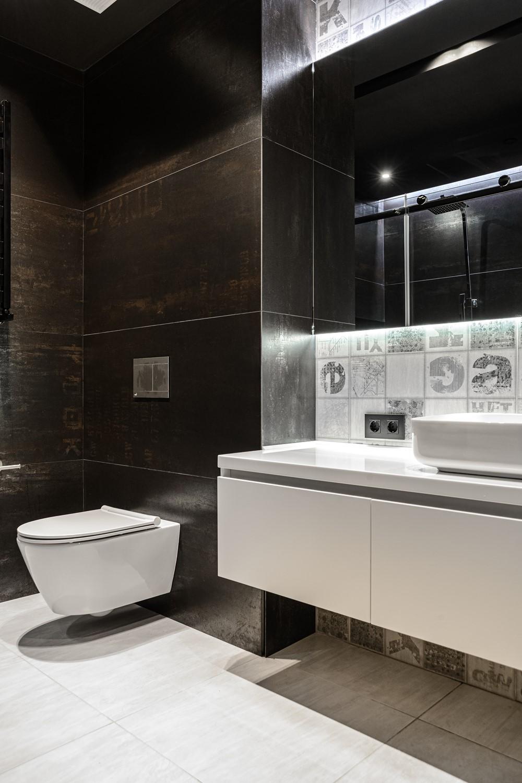 Современный дизайн интерьера ванной комнаты квартиры в промышленном стиле 2
