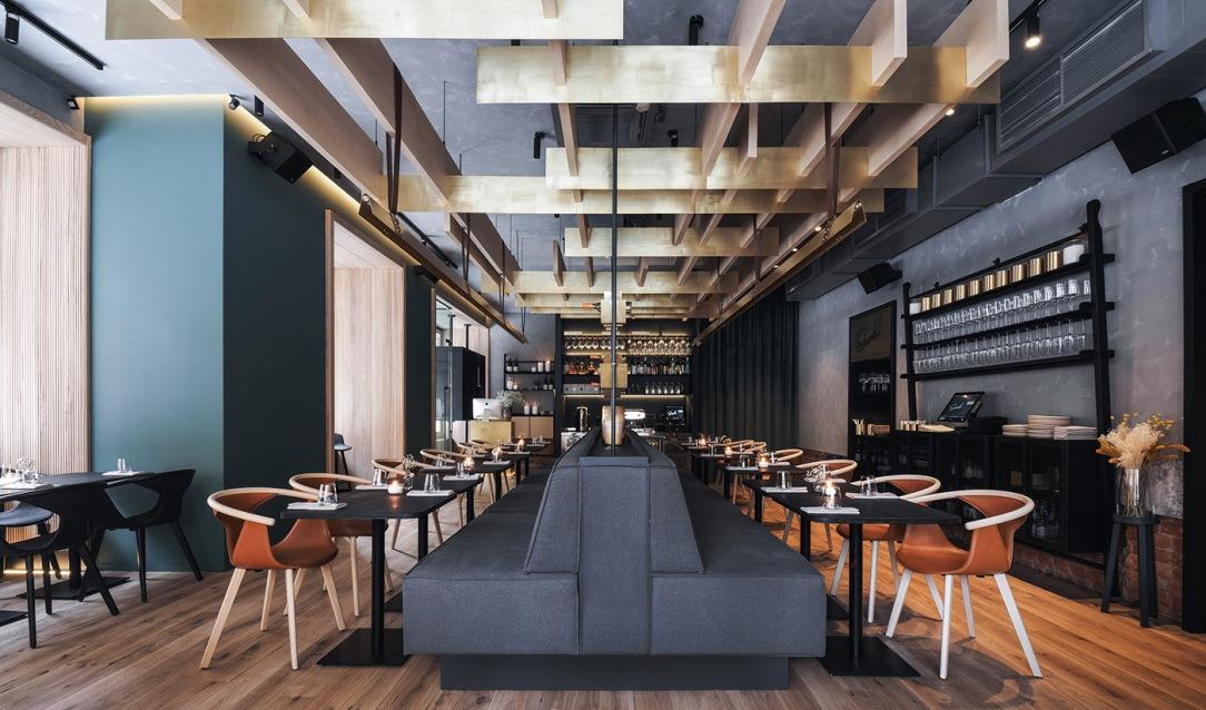 Современный дизайн интерьера ресторана THE SIZZLE в минималистском стиле