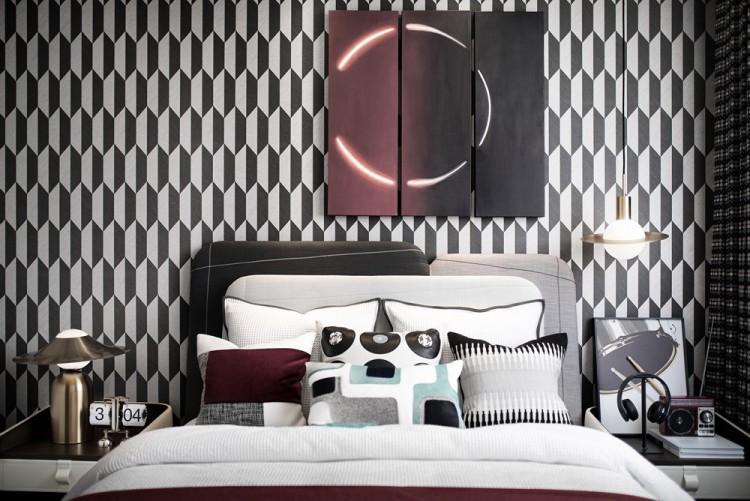 Современный дизайн интерьера гостевой спальни двухэтажной виллы в Китае