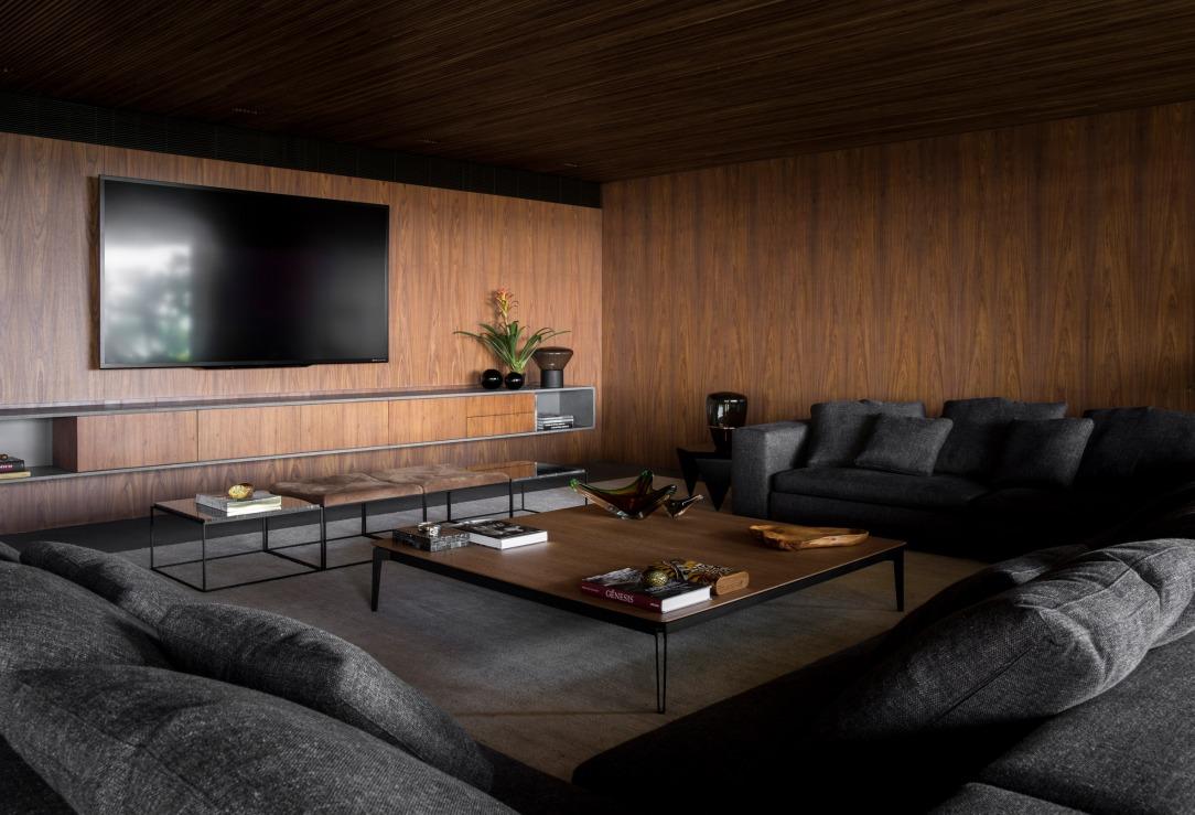 Современный дизайн интерьера гостиной квартиры в минималистском стиле