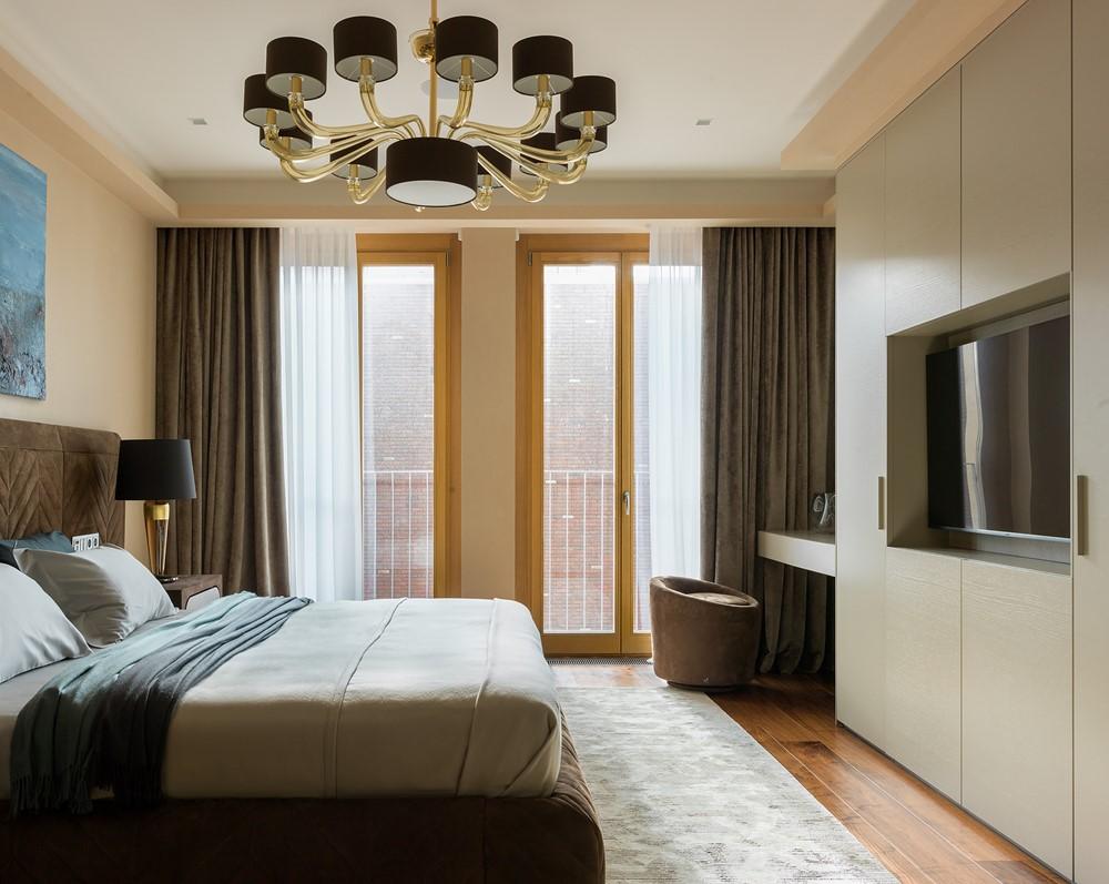 Современный дизайн интерьера спальни пентхауса в Москве 2