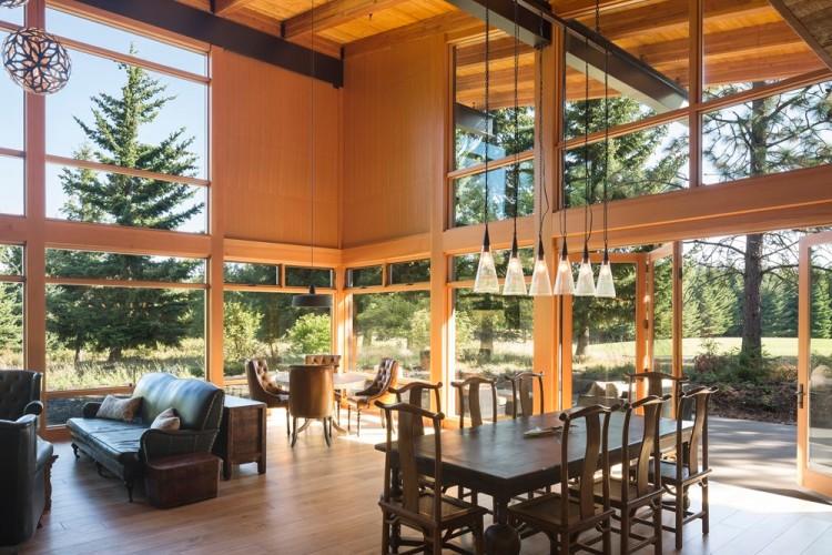 Современный дизайн и архитектура гостиной загородного дома 2