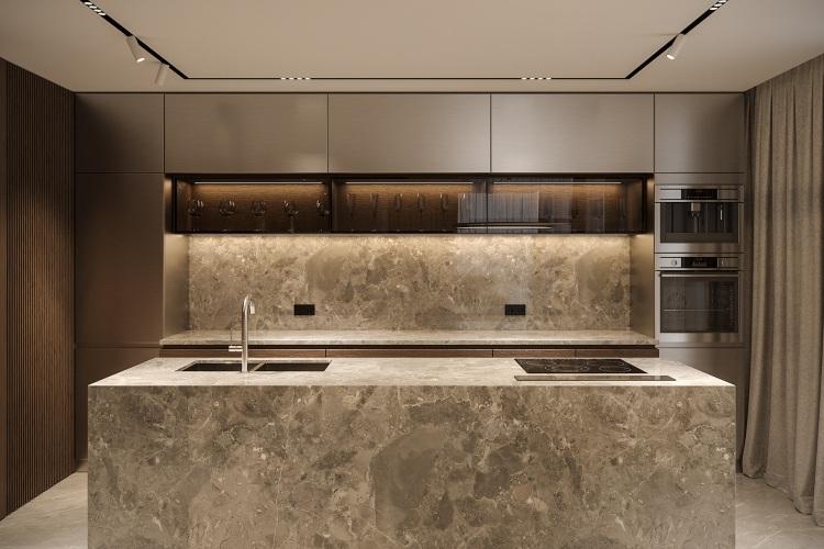 Современный дизайн интерьера кухни квартиры в стиле фьюжн