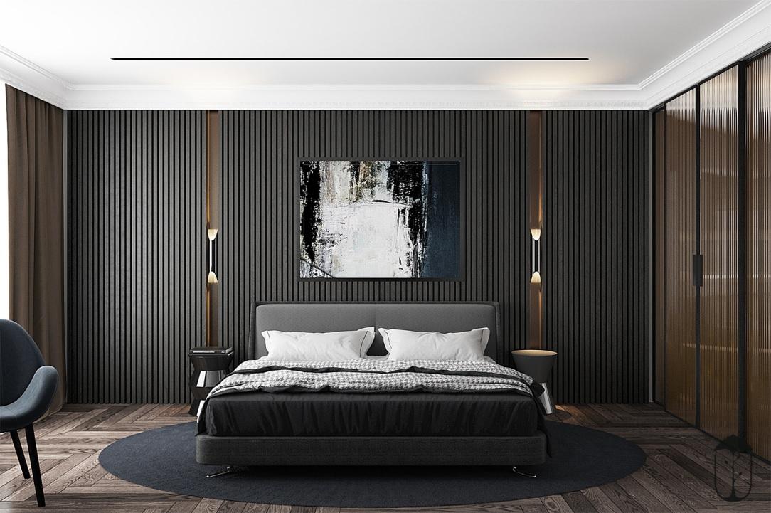 Современный дизайн интерьера спальни квартиры в минималистском стиле