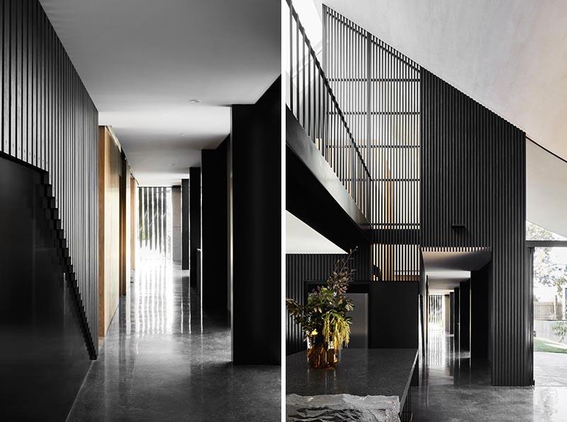 Современный дизайн интерьера прихожей дома в минималистском  стиле
