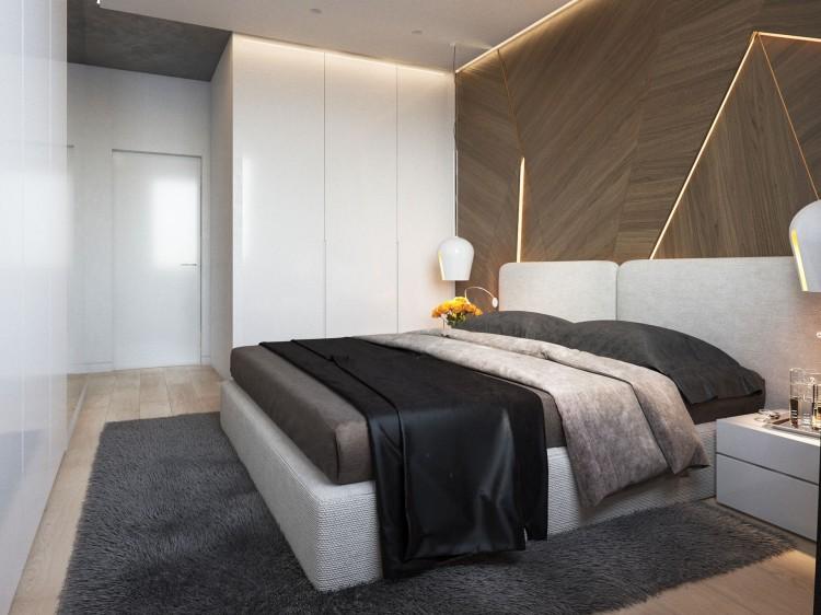 Современный дизайн интерьера спальни квартиры в минималистичном стиле 2