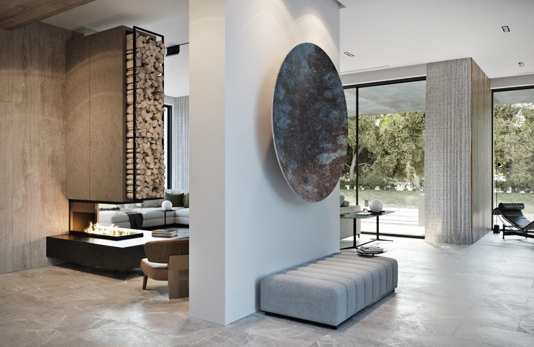 Современный дизайн интерьера гостиной дома в стиле фьюжн