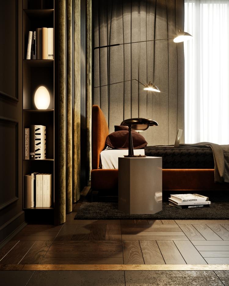 Современный дизайн интерьера спальни квартиры в стиле фьюжн 6