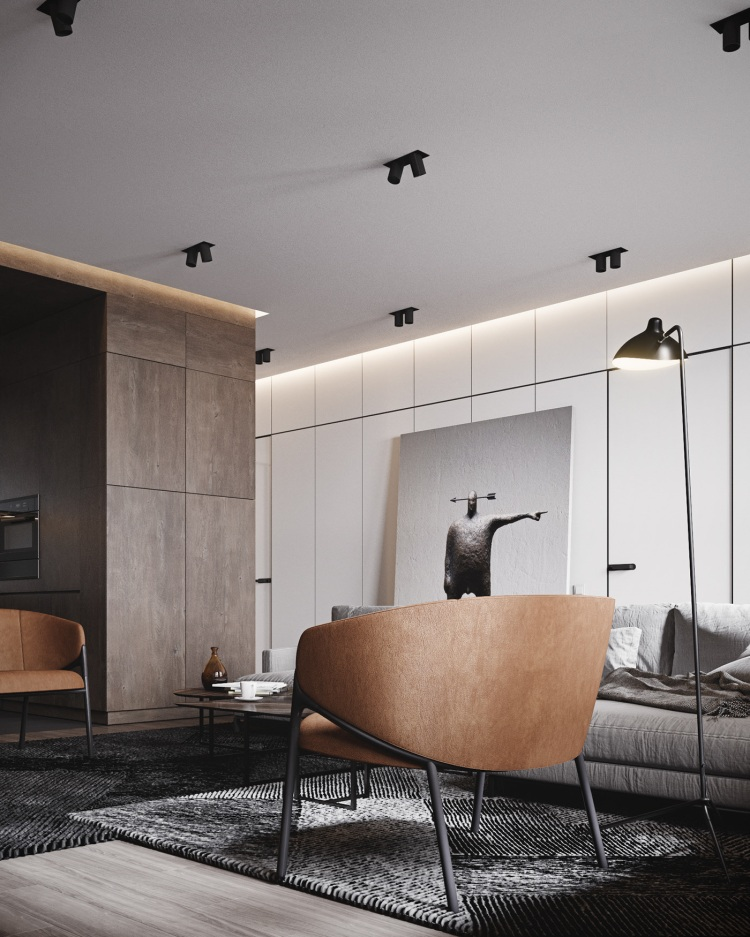Современный дизайн интерьера гостиной квартиры в минималистском стиле 5