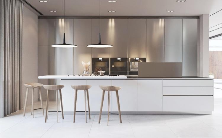 Современный дизайн интерьера кухни виллы в минималистском стиле