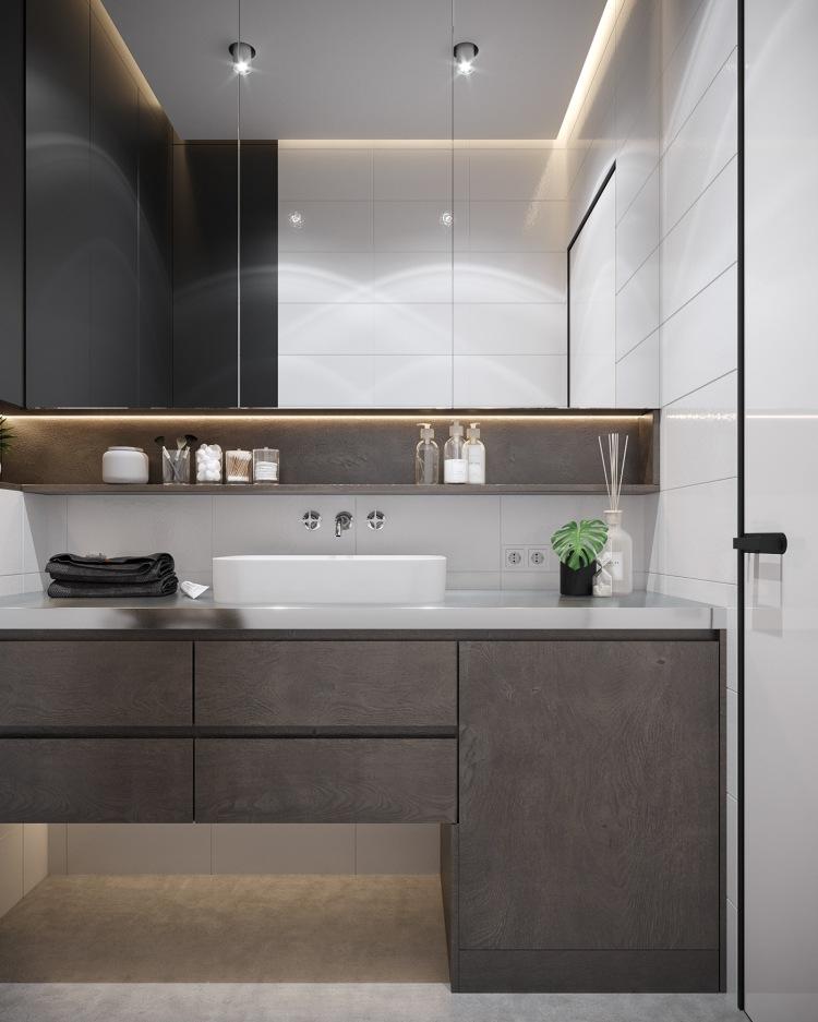 Современный дизайн интерьера ванной комнаты квартиры в минималистском стиле 2