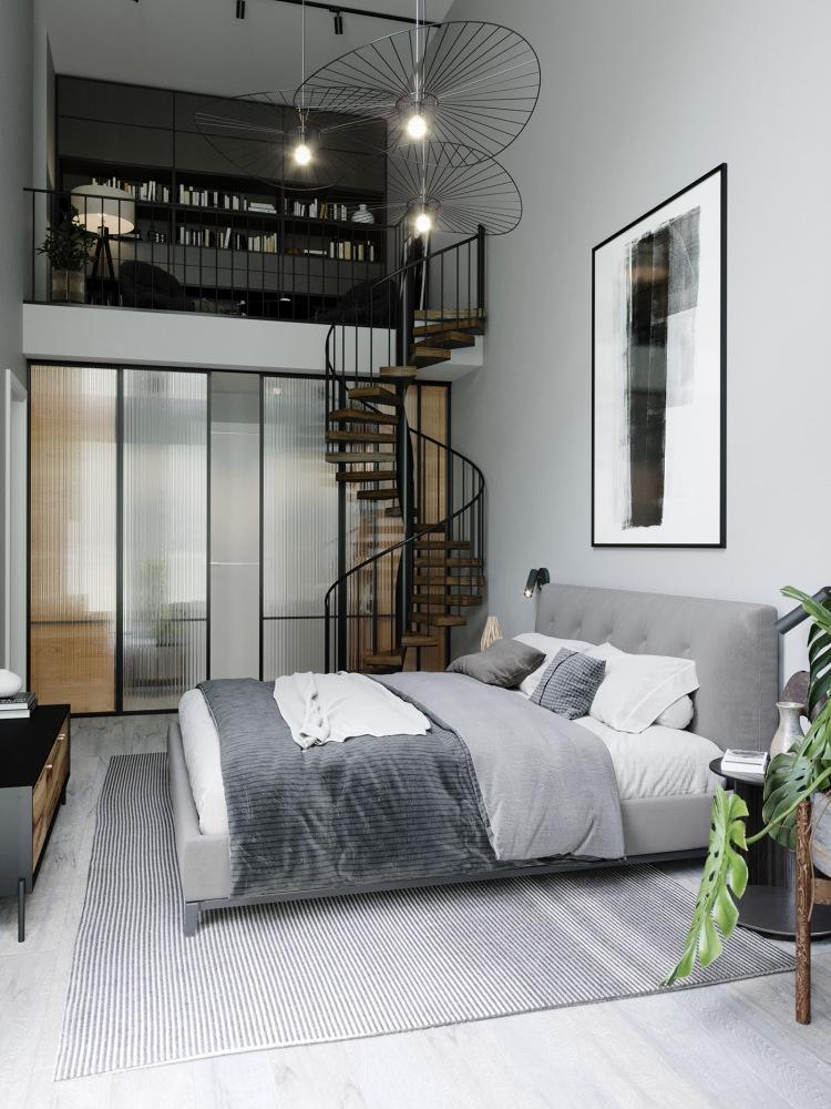 Современный дизайн интерьера главной спальни квартиры в стиле минимализм 3