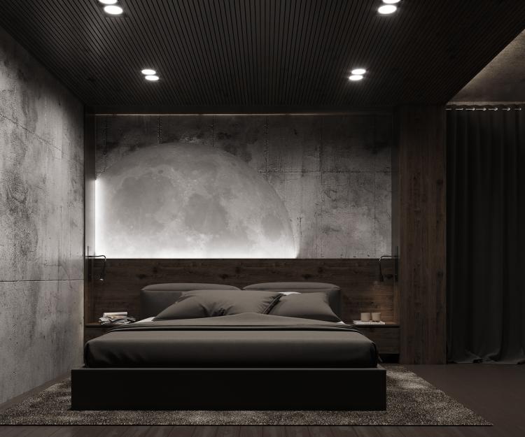 Современный дизайн интерьера спальни квартиры в стиле минимализм